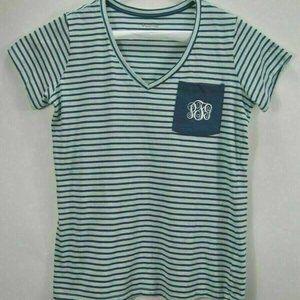 Columbia PFG Womens Top L Sportswear Blue Striped